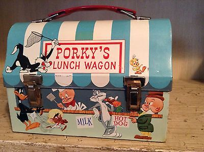 1959 porkys lunchwagon metal dome lunchbox. super clean and bright. warner bros