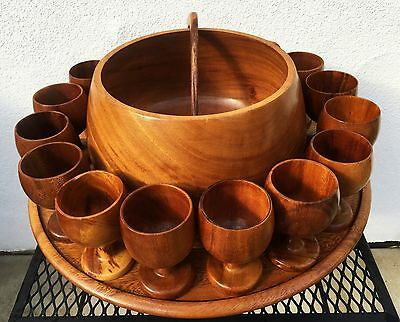 Vtg Wood Tiki Punch Bowl Set 16 Cups Lazy Susan Pacific Islander Philippines Mcm