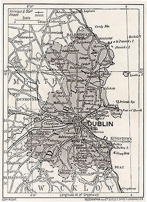 1923 map of Ireland: County Dublin antique ready-mounted print SUPERB