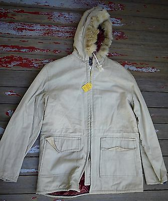 NOS 1940s WWII Winter Civilian Army Parka HBT Fabric Fur Trim Blanket Lining S
