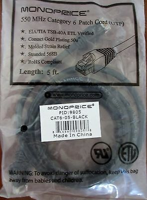 Monoprice 550 MHz Category 6 Patch Cord UTP - 5 ft - PID:9805 Black