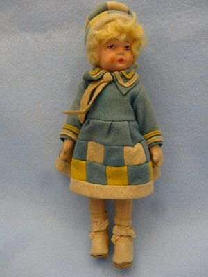 "10"" German Bing Bros Cloth & Bisque Doll, W Plaid Pieced Dress"