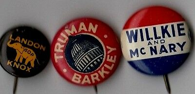 Campaign Pin Lot WILLKIE Button 1948 TRUMAN BARKLEY Pin 1936 LANDON KNOX Pinback