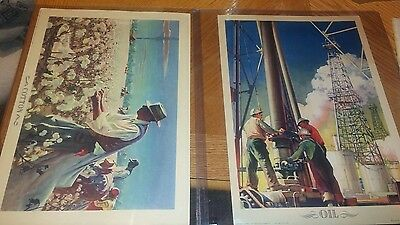 """1943 coca-cola litho """"Cotton"""" and """"Oil"""" advertisment"""