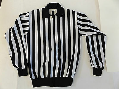 Hockey Referee Jersey Size M Athletic Knit Made in Canada Full Zip Black White
