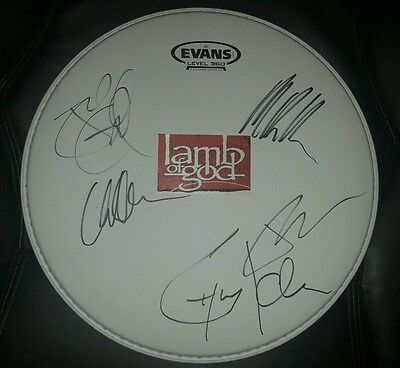Super Rare! LAMB OF GOD Autographed Drumhead by All!