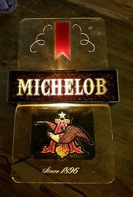 Vtg Michelob Beer Adv Clear Lucite Plastic Sign Electric Light Lamp Bar Tavern