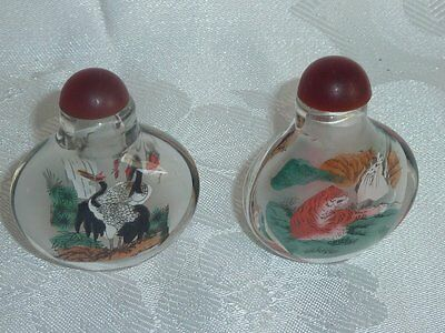 Beautiful Collectable Vintage Reverse Painted Glass 2  Snuff Bottles  C1950's