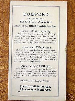 1942 Rumford Reciepts, Lily Haxworth Advertising Cookbook