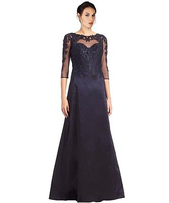 nwt rickie freeman teri jon navy formal dress gown mother of the bride size 8