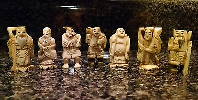 7 Antique Artist Signed Carved Bovine Bone Japanese Netsuke Monk Figurines