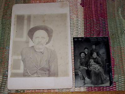 Antique Tintype,Cabinet Photo Lot Civil War Soldier Veteran Arm Amputee & Family