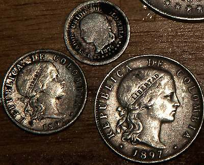 3 Colombia 1897/1875 Silver 20/10/05 Centavos coins Bogota Libertad Plata XF-F