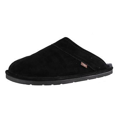 Dije 2798 Mens Black Suede Sheepskin Lined Slide Scuff Slippers Shoes M BHFO