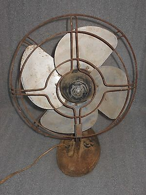 """Vintage Gilbert 11"""" Electric Fan 4-blade Cast Iron Base Oscillating Parts/Repair"""