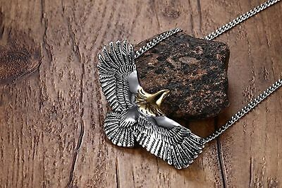 Mens Stainless Steel Flying Eagle Pendant Cuban Curb Chain Necklace + Box #N64