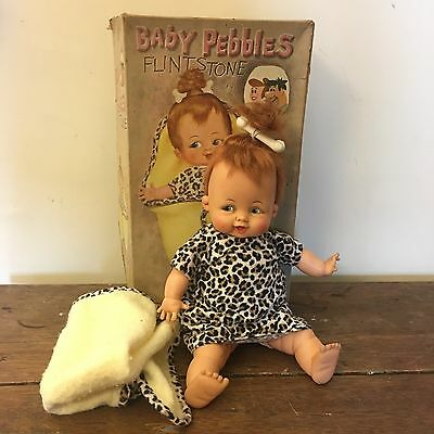 "1963 VTG Baby Pebbles Flintstones 15"" Doll with Box Ideal Toys"