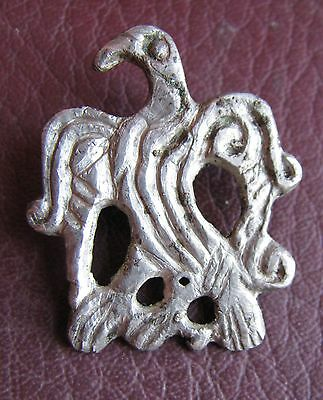 Authentiic Ancient Artifact   Viking Silver Borre Style Raven Pendant VK70