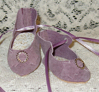 "French Style Leather Doll Shoes for 2 5/8"" foot x 1 1/4"" ~ Lavender Suede"