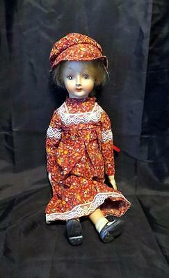Vintage Porcelain Bisque Doll Body Of Cloth Wearing Western Dress And Hat