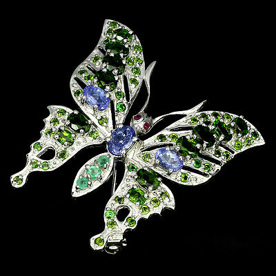 43 Mm Real Blue Tanzanite Diopside Emerald Ruby 925 Silver Butterfly Big Brooch
