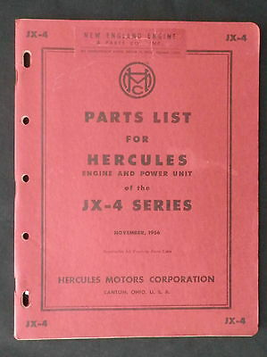 1956 Parts List for Hercules Engine and Power Unit JX-4 series