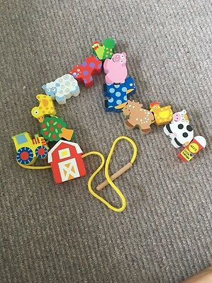 Wooden Lacing Beads Threading Farm Animals Toy Age 3