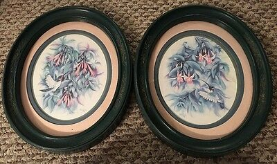Home Interiors HOMCO  Hummingbird Flower Prints Signed Don Kent 1994 Accent