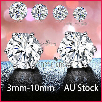 24K White Gold Gf Silver Ct Lab Diamond Mens Lady Kids Solid Round Stud Earrings
