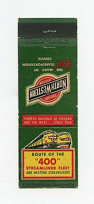 "North Western Railroad ""route Of The 400 Streamliner Fleet"" Matchcover"