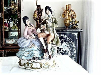 Fabulous Mid Century Huge Porcelain Statue Courting Couple By Capodemonti