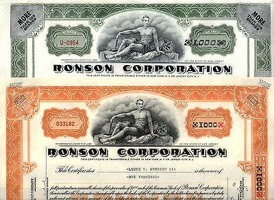 1-OF-A-KIND FLAWLESS 1000s RONSON STOCK iss 2 PRESIDENT! HIS OWN SHARES! CV $150