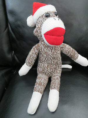 """Sock Monkey 10"""" Red Hat Brown & White Stuffed Animal Toy by Gallerie"""