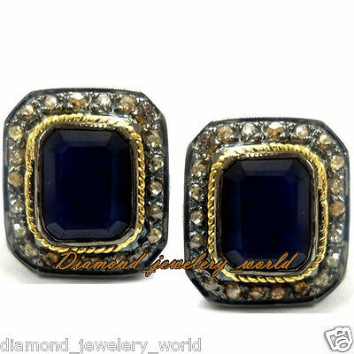 Vintage Estate 1.88cts Rose Cut Diamond Sterling Silver Sapphire Earring Jewelry