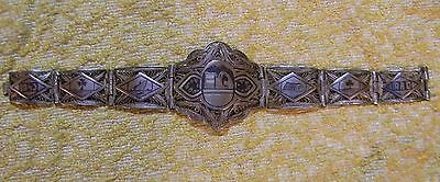Vintage 1943 Iraqi Niello Sterling Silver Antique Filigree Bracelet WWII Period