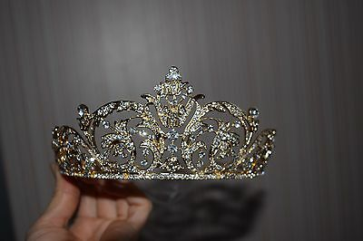 Golden Rhinestone crystal Flower Tiara Crown For Women Party accessories Jewelry