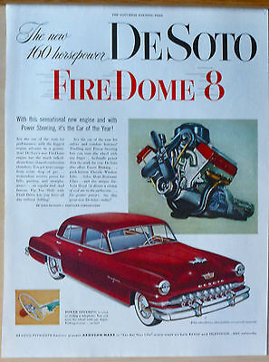 1952 magazine ad for DeSoto - colorful Firedome 8 auto and engine illustration