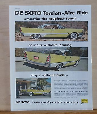 Vintage 1957 magazine ad for De Soto - yellow De Soto, Torsion-Aire Ride smooth