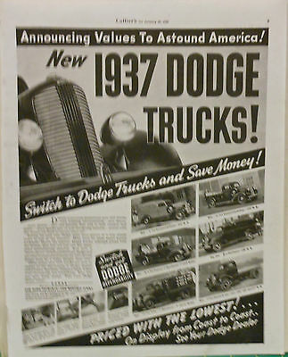 Vintage 1937 magazine ad for Dodge Trucks - photos of 6 models, features, grille