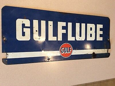 original Gulf Gulflube pump plate double sided sign