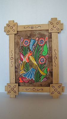 Estate Mexican Hand Painting On Bark Paper In Handcrafted Wood Frame