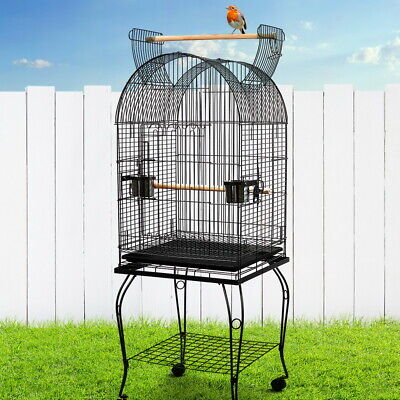 Pet Bird Cage Open Roof Stand & Wheels Aviary 150cm  Parrot Budgie Canary