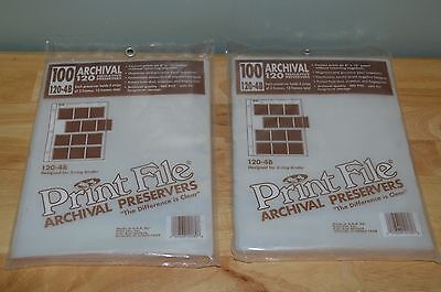 200 Pages PRINT FILE 240 Film Negative Pages Sleeves Archival Preservers 120-4B