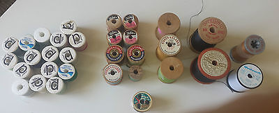 VINTAGE wooden cotton reels singer coats american thread fw hayes ireland usa