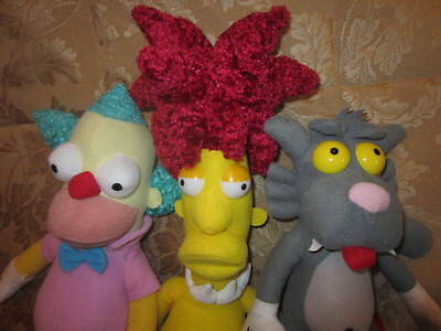 """The Simpsons Krusty the Clown 15"""" Plush Doll & SIDESHOW BOB TOY FACTORY LOT 2"""