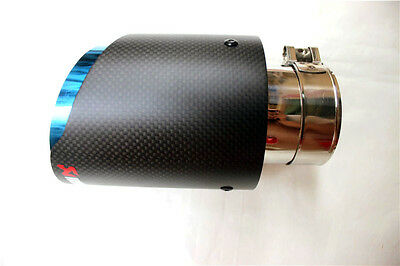 1 x Universal AKRAPOVIC Exhaust Tips Muffler Pipe Carbon Fiber and blue stainles