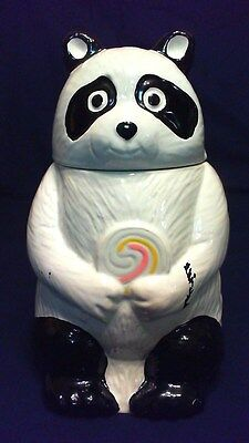 "Antique Panda Bear With Lollipop Cookie Jar, 11"" Tall #141 Usa, Rare & Excellent"