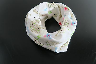 Baby Scarf Baby Bibs Infinity Shawl White with owls