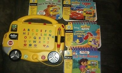 LeapFrog My First LeapPad Yellow School Bus Learning System 4 Books & Cartridges