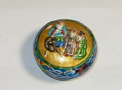 Old Chinese People Design Cloisonne Repousse Enamel Humidor Opium Box